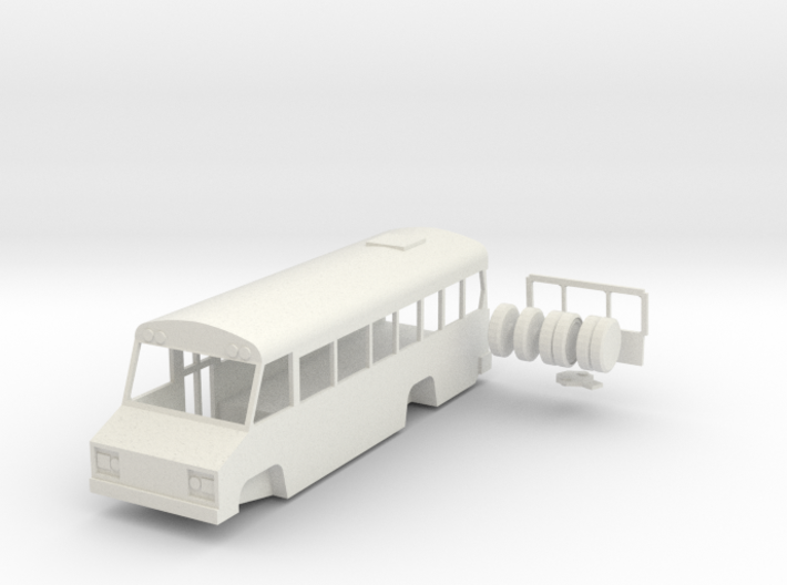 HO scale Blue Bird Mini Bird school bus 3d printed