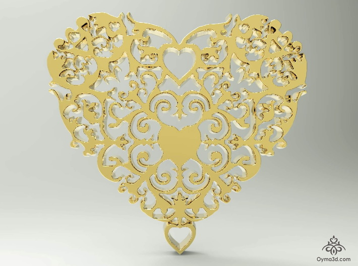 Floral Heart Pendant - Amour 3d printed Floral Heart Pendant - Amour collection