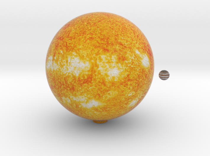 The Sun & Jupiter to scale 3d printed