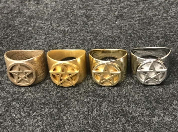 Pentacle Ring - large (choose size) 3d printed From left to the right: stainless steel, raw brass, polished brass, rhodium-plated polished brass.