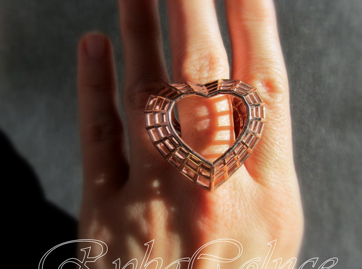 The Heart Diamond Ring/size 9US (19 mm diameter) 3d printed