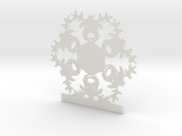 Customizable Reindeer Snowflake Ornament 3d printed