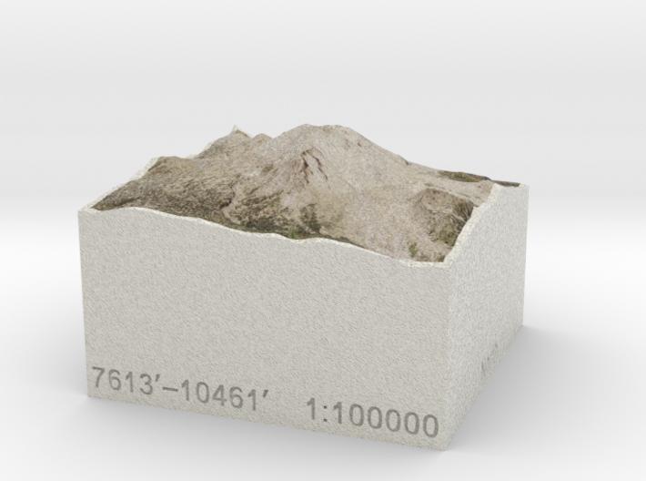 Lassen Peak, California, USA, 1:100000 Explorer 3d printed