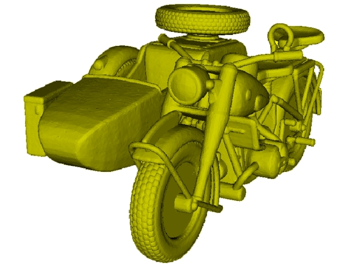 1/100 scale WWII Wehrmacht motorcycle x 1 3d printed