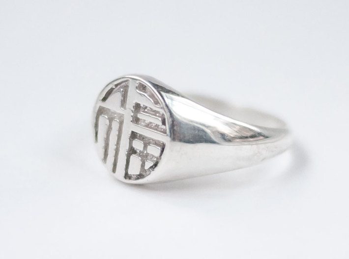 Fortune (Luck) - Lady Signet Ring 3d printed Fortune Lady Signet Ring in Polished Silver
