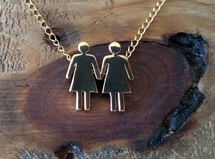 Woman Loves Woman Pendant- Love is Love Collection 3d printed