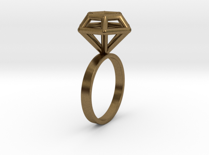 Wireframe Diamond Ring (size 6) 3d printed
