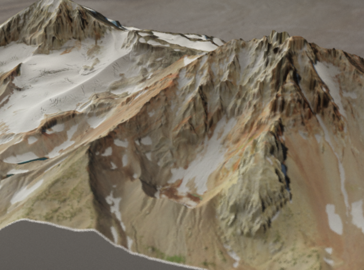North and Middle Sister, Oregon, USA, 1:15000 3d printed