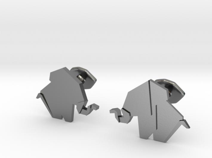 Origami Elepant Cufflink 3d printed