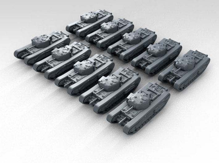 1/400 scale British Churchill MKI Heavy Tank (10) 3d printed Render showing product detail
