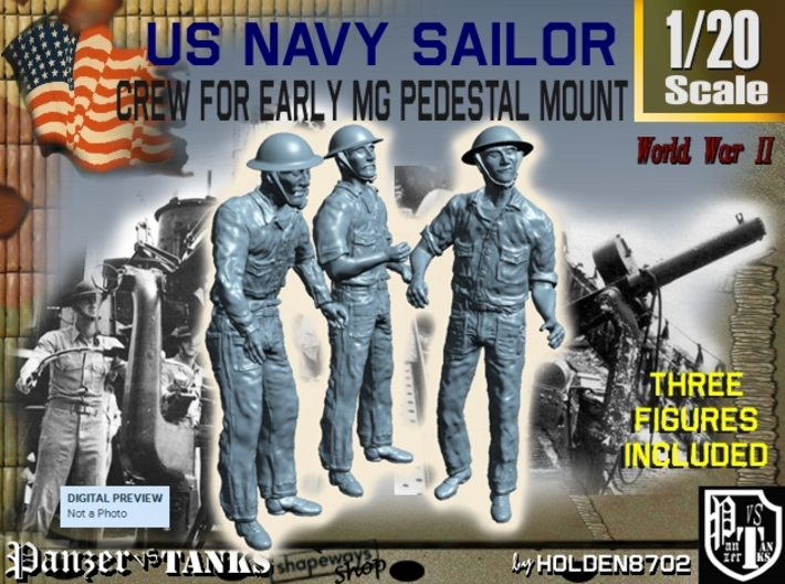 1-20 USN Early MG Mount Crew Set1 3d printed