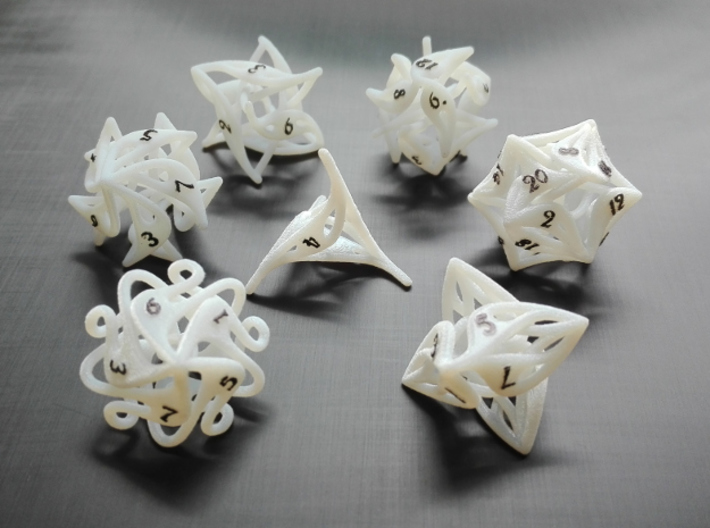 Curlicue 10-Sided Dice 3d printed Whole set with painted numbers made from acrylic plastic.
