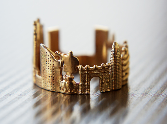 Barcelona Skyline - Cityscape Ring 3d printed