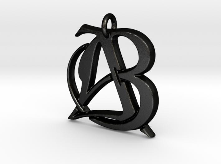 Monogram Initials AB Pendant 3d printed