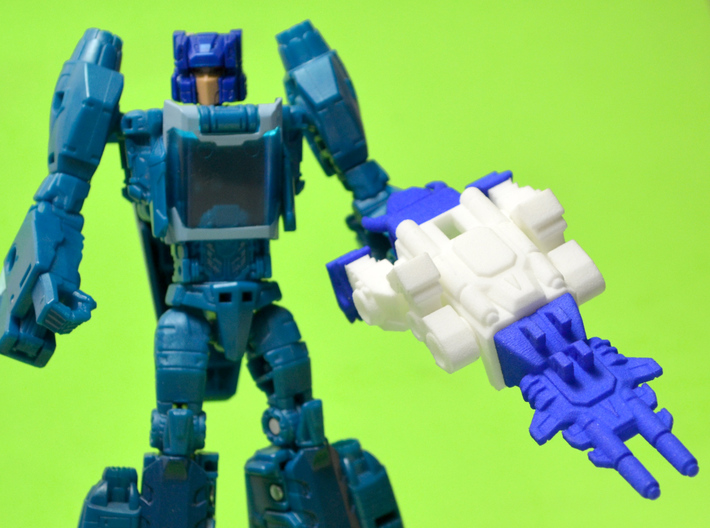 "Horri-Bull Minivehicle, ""B"" Parts 3d printed Weapon Mode, shown with Blurr/Terri-Bull Titan Master (not included)"