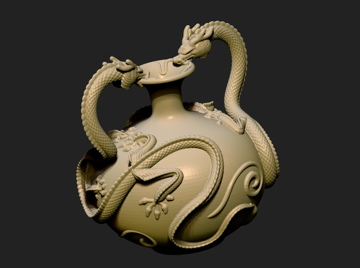 Twin Dragon Vase 3d printed