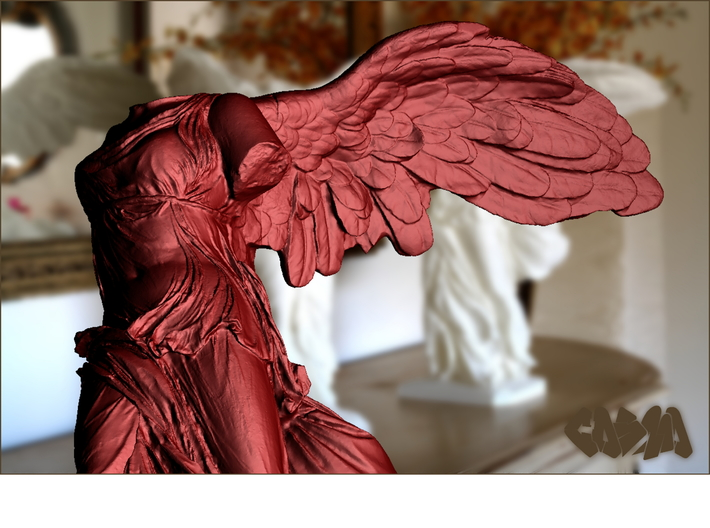 "Winged Victory (20"" tall) 3d printed Winged Victory of Samothrace (computer rendering, shown in red for contrast)"
