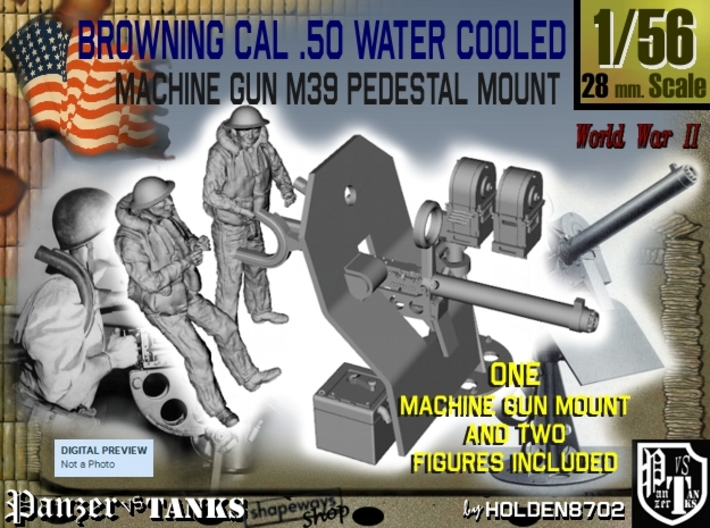 1-56 USN Cal 50 WC Mount M39 & Crew Set 3d printed
