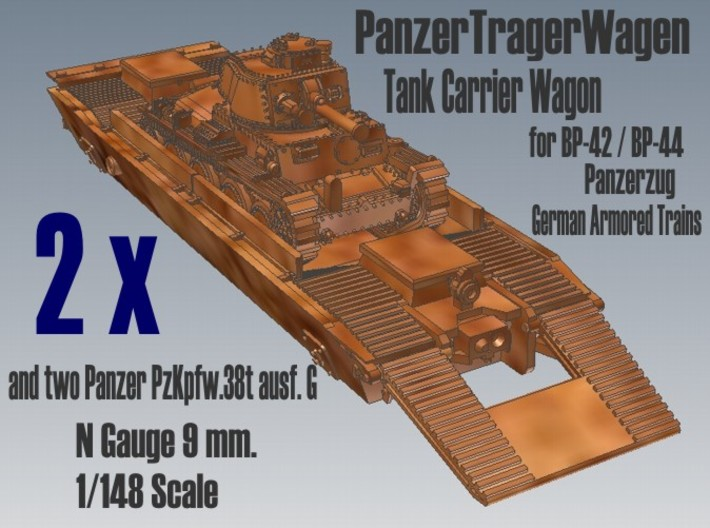 1-148 2x Pz-Tr-W+ PzKpfw 38t For BP-42 3d printed