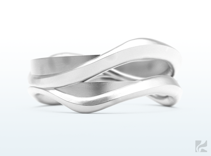 Full Dual Ring 3d printed Silver