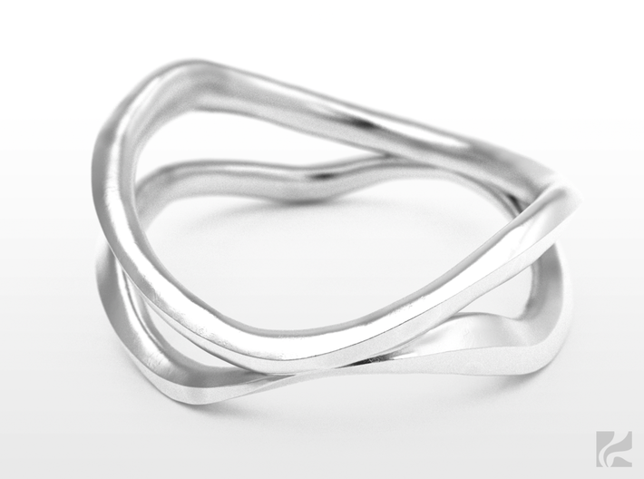 Dual Ring 3d printed Silver