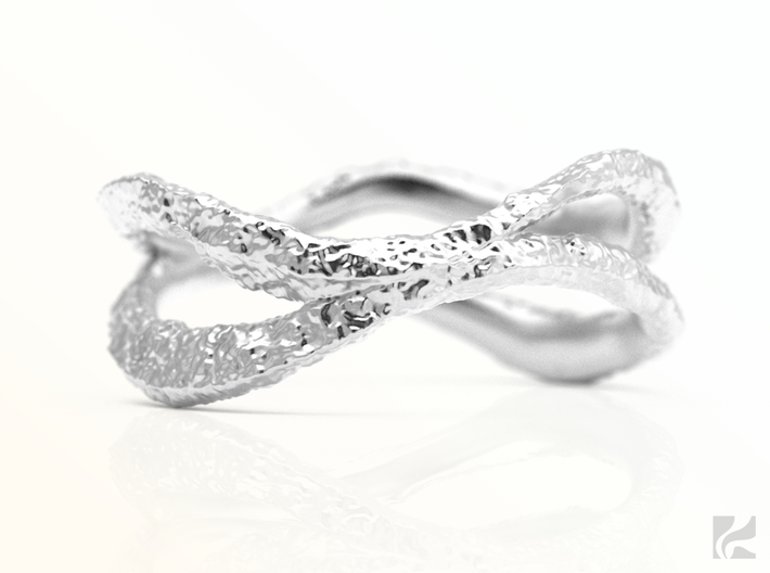 Dual Stone Ring 3d printed Silver