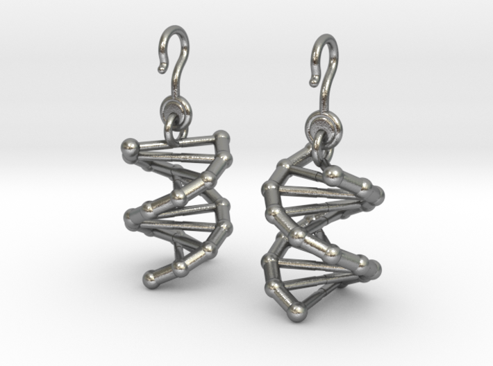 DNA Earrings (One Piece) 3d printed