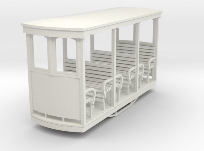 On30 On16.5 Short open tramway style coach. 3d printed