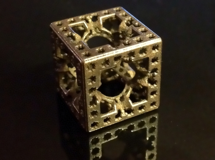 Hyper Solomon cube 3d printed Polished Grey steel