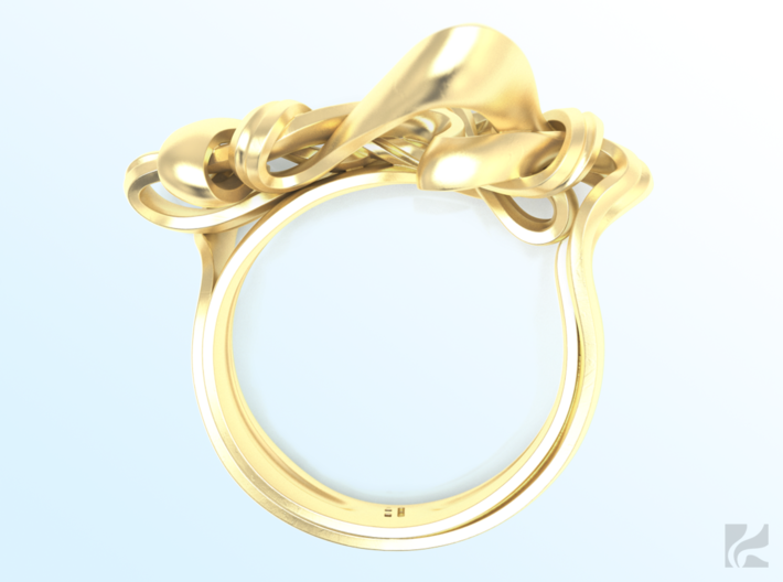 Weaving Ribbons Ring 3d printed Gold