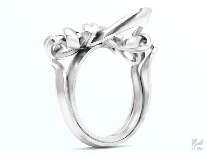 Weaving Ribbons Ring 3d printed Silver