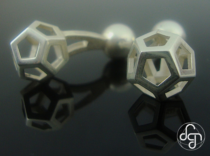 Dodecufflinks 3d printed Close-up [Polished Silver]