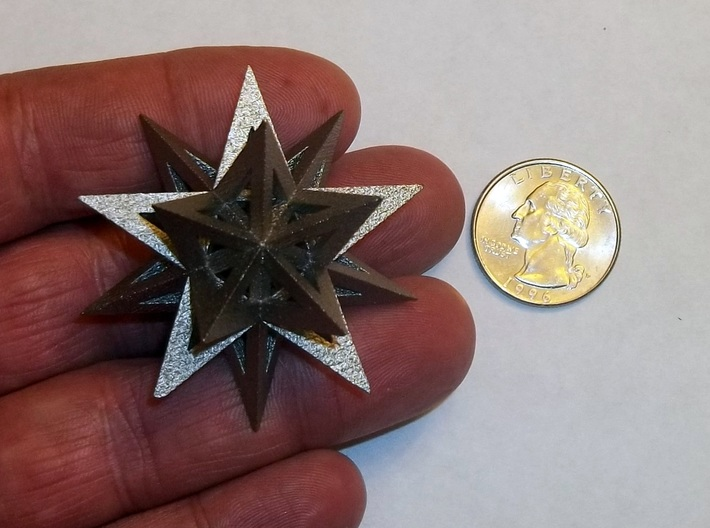Stellated Icosahedron 3d printed Stellated Icosahedron in polished nickel steel