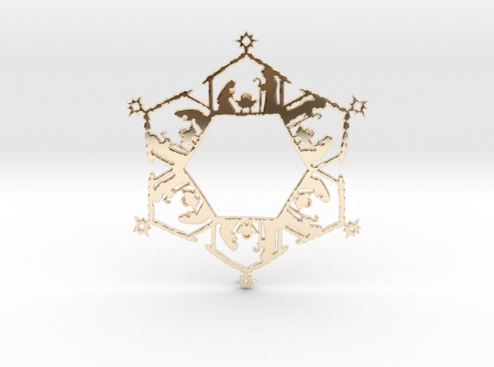 Nativity Snowflake Ornament 3d printed