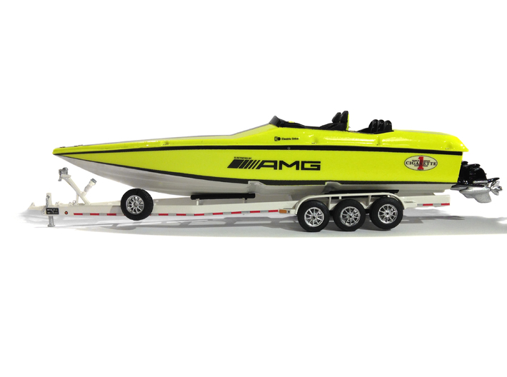 1/87 Myco Trailer 3-axle speedboat-trailer 3d printed AMG Cigarette in 1/87 on Myco (for sale)