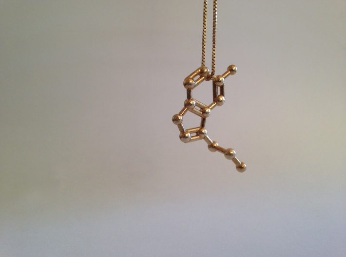 Serotonin Molecule Keychain Necklace 3d printed Serotonin molecule necklace in raw brass.