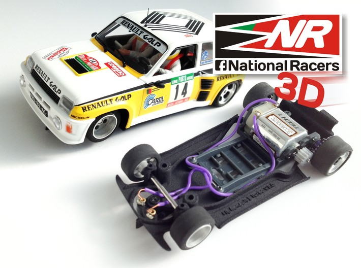 3D chassis - Fly Renault 5 Turbo (Combo) 3d printed Chassis compatible with Fly model (slot car and other parts not included)