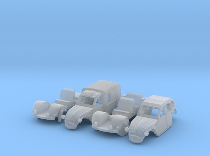 SET 2x Citroën 2CV - parked (N 1:160) 3d printed