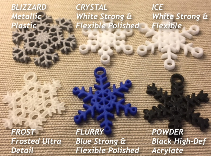 Flurry Snowflake Earrings 3d printed Samples of available styles and materials