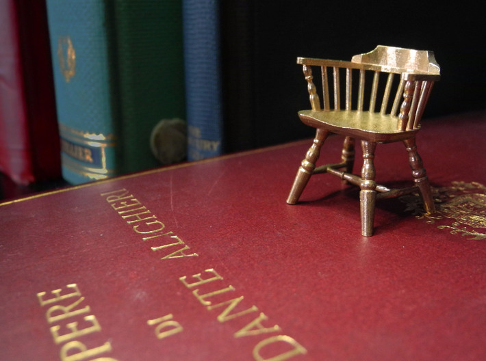 1:24 Low Back Windsor Chair 3d printed Printed in Raw Bronze