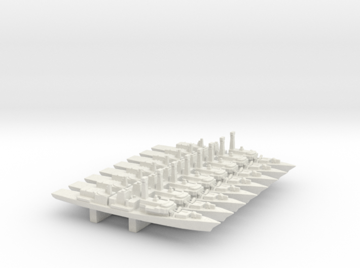 Type 23 frigate x 8, 1/3000 3d printed