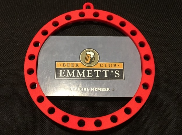 +gift card screw in ornament with holes 3d printed Ring shown holding a credit card sized membership card.