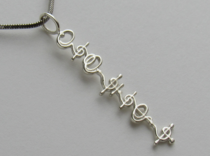 """""""T'hy'la"""" Stardust Pendant 3d printed Pictured: Polished Silver"""