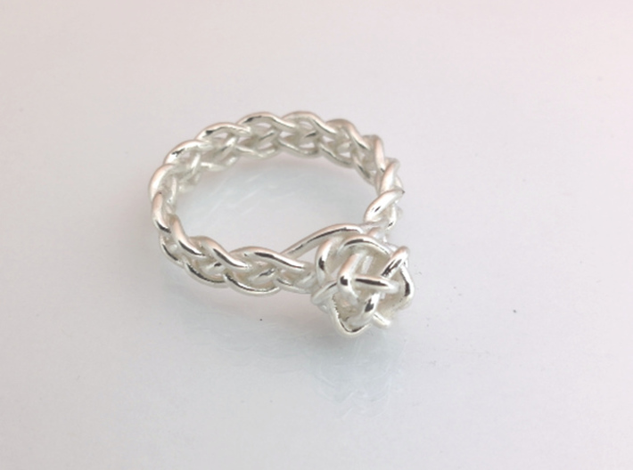 Woven Gem Ring 3d printed Polished Silver