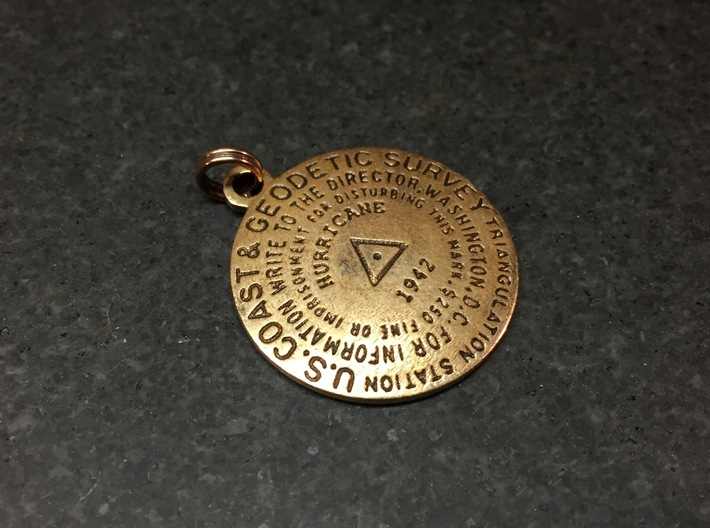 Triangulation Station Keychain Position 2 3d printed Raw bronze with custom text and patina.
