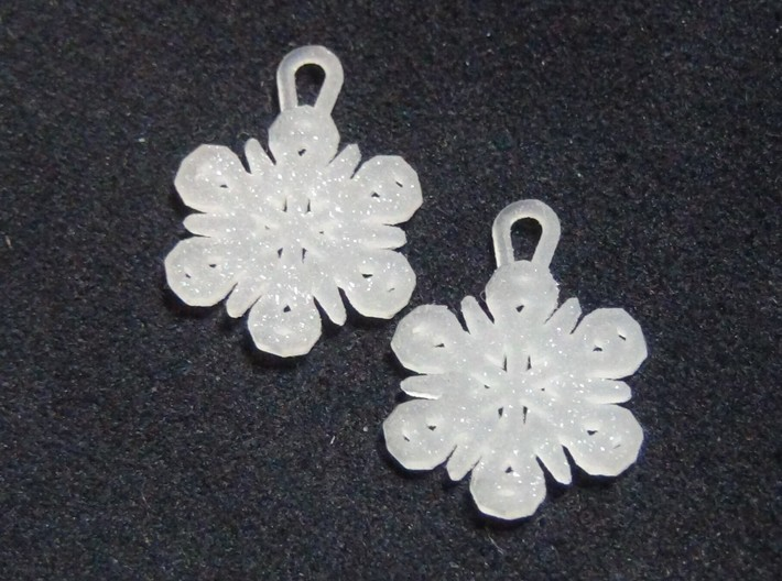 Small Snowflake Earrings 3d printed Small Snowflake Earrings in Sparkling Frosted Ultra Detail