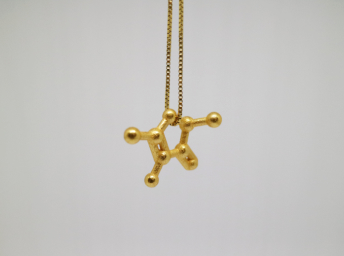 Furaneol (Strawberry Aroma) Molecule Necklace 3d printed Furaneol (Strawberry Aroma) Molecule Necklace in Polished Gold Steel.