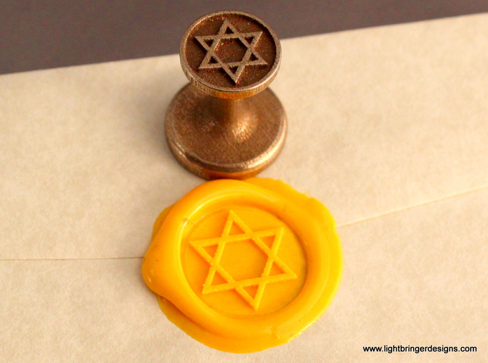 Star of David Wax Seal 3d printed Star of David Wax Seal with impression in Sunflower Yellow sealing wax
