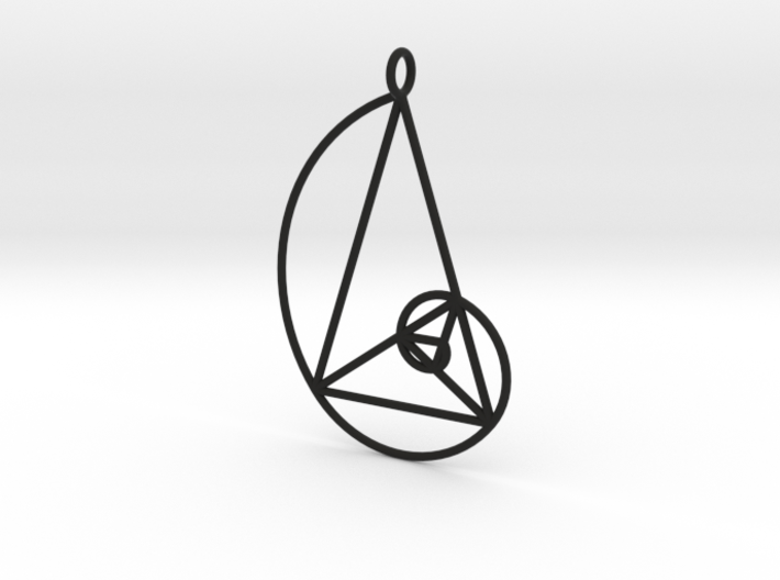 Golden Phi Spiral Isosceles Triangle Grid Pendant 3d printed