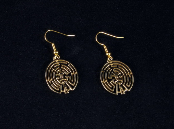 WestWorld Maze Earrings 3d printed Polished Brass